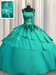 Turquoise Satin Lace Up Spaghetti Straps Sleeveless Floor Length Ball Gown Prom Dress Beading and Embroidery