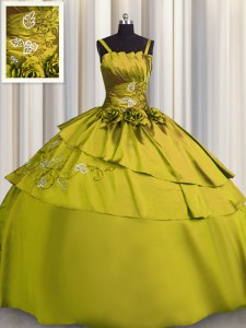 Elegant Olive Green Quinceanera Dresses Military Ball and Sweet 16 and Quinceanera and For with Beading and Embroidery Spaghetti Straps Sleeveless Lace Up