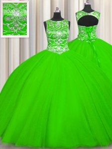 Sumptuous Scoop Sleeveless Tulle Lace Up Quinceanera Dresses for Military Ball and Sweet 16 and Quinceanera