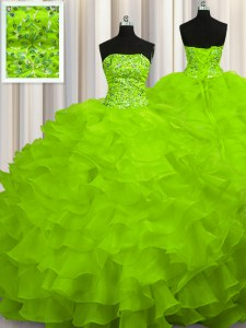 Suitable Sweep Train Ball Gowns Beading and Ruffles Sweet 16 Dresses Lace Up Organza Sleeveless
