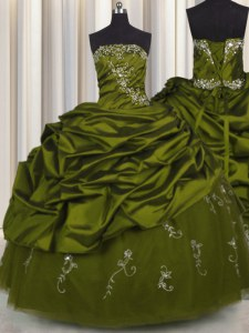 Shining Embroidery Olive Green Ball Gowns Taffeta Strapless Sleeveless Beading and Appliques and Pick Ups Floor Length Lace Up Quinceanera Dress