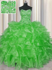 Visible Boning Lace Up Strapless Beading and Ruffles Vestidos de Quinceanera Organza Sleeveless