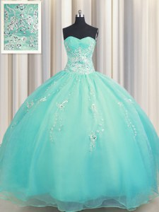 New Arrival Zipper Up Aqua Blue Ball Gowns Organza Sweetheart Sleeveless Beading and Appliques Floor Length Zipper Sweet 16 Dress