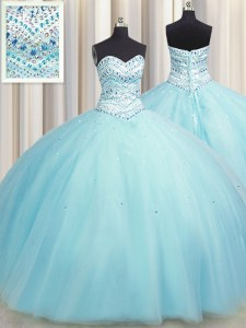 Extravagant Bling-bling Big Puffy Ball Gowns Ball Gown Prom Dress Aqua Blue Sweetheart Tulle Sleeveless Floor Length Lace Up