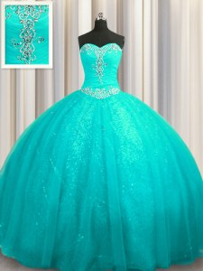 Affordable Sequined Lace Up Vestidos de Quinceanera Aqua Blue for Military Ball and Sweet 16 and Quinceanera with Beading and Appliques Court Train