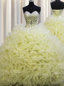 Extravagant Rolling Flowers Brush Train Floor Length Ball Gowns Sleeveless Light Yellow Sweet 16 Quinceanera Dress Lace Up