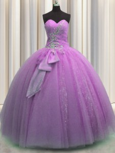 Captivating Sequins Bowknot Ball Gowns Sweet 16 Dress Lilac Sweetheart Tulle Sleeveless Floor Length Lace Up
