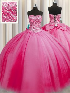 Big Puffy Sleeveless Floor Length Beading Lace Up Quinceanera Gowns with Rose Pink