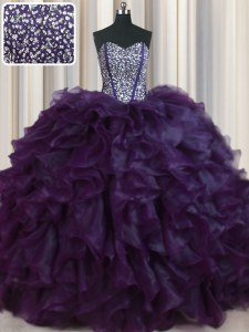 Visible Boning Bling-bling Sleeveless Organza With Brush Train Lace Up Sweet 16 Dress in Dark Purple with Beading and Ruffles