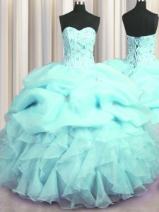 Visible Boning Sleeveless Beading and Ruffles and Pick Ups Lace Up 15th Birthday Dress