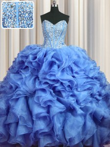 Hot Selling Visible Boning Bling-bling Baby Blue Organza Lace Up Quinceanera Gown Sleeveless With Brush Train Beading and Ruffles