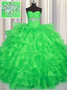 Fantastic Green Ball Gowns Organza Sweetheart Sleeveless Beading and Ruffled Layers Floor Length Lace Up 15 Quinceanera Dress