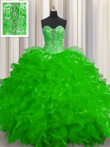 Low Price See Through Organza Sleeveless Floor Length Quinceanera Gown and Beading and Ruffles