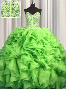 Visible Boning Brush Train Green Lace Up Sweetheart Beading and Ruffles Quinceanera Gowns Organza Sleeveless Sweep Train