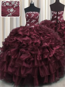 Delicate Wine Red Organza Lace Up Strapless Sleeveless Floor Length Sweet 16 Quinceanera Dress Appliques and Ruffles and Ruffled Layers