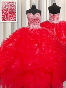 Visible Boning Beaded Bodice Sleeveless Beading and Ruffles Lace Up Sweet 16 Dresses