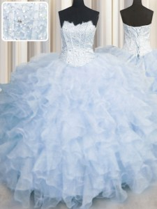 Scalloped Light Blue Lace Up Quinceanera Gowns Ruffles Sleeveless Floor Length