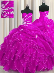 Fuchsia Ball Gowns Beading and Appliques and Ruffles Quinceanera Dresses Lace Up Organza Sleeveless Floor Length