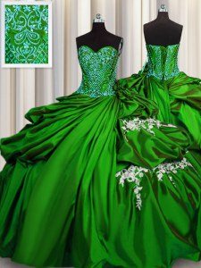 Green Ball Gowns Beading and Appliques Sweet 16 Dress Lace Up Taffeta Sleeveless Floor Length