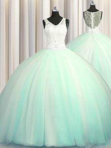 Custom Design Big Puffy Zipper Up Tulle V-neck Sleeveless Brush Train Zipper Beading and Appliques 15th Birthday Dress in Apple Green