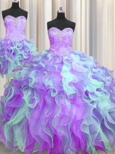 Chic Three Piece Organza Sleeveless Floor Length 15 Quinceanera Dress and Beading and Appliques