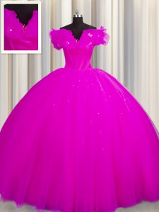 Gorgeous Off The Shoulder With Train Ball Gowns Short Sleeves Fuchsia Quinceanera Gown Court Train Lace Up