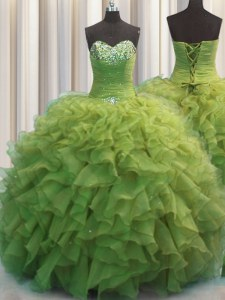 Eye-catching Beaded Bust Olive Green Sleeveless Beading and Ruffles Floor Length Ball Gown Prom Dress