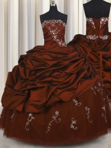 Embroidery Burgundy Lace Up Strapless Beading and Appliques and Pick Ups Vestidos de Quinceanera Taffeta Sleeveless