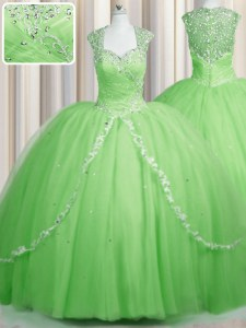 Artistic See Through Brush Train Cap Sleeves With Train Beading and Appliques Zipper Sweet 16 Quinceanera Dress