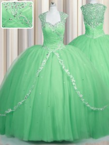 Perfect Apple Green Zipper Sweetheart Beading and Appliques Ball Gown Prom Dress Tulle Cap Sleeves Brush Train