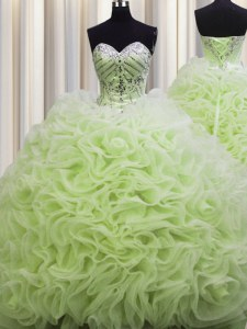 Enchanting Brush Train Yellow Green Ball Gowns Fabric With Rolling Flowers Sweetheart Sleeveless Beading and Pick Ups Floor Length Lace Up Sweet 16 Dress