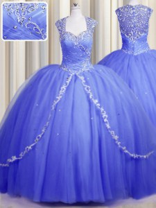Inexpensive Zipper Up Cap Sleeves With Train Beading and Appliques Zipper Sweet 16 Quinceanera Dress with Blue Brush Train