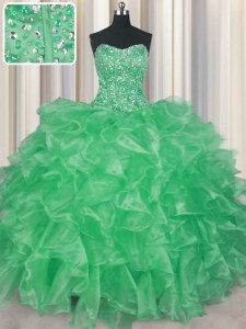 Enchanting Visible Boning Apple Green Ball Gowns Beading and Ruffles Quinceanera Gowns Lace Up Organza Sleeveless Floor Length