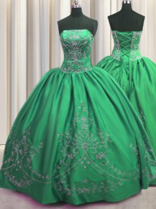Green Vestidos de Quinceanera Military Ball and Sweet 16 and Quinceanera and For with Beading and Embroidery Strapless Sleeveless Lace Up
