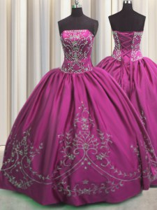 Fuchsia Lace Up Strapless Beading and Embroidery Quinceanera Dresses Taffeta Sleeveless