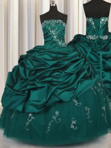 Fashionable Peacock Green Ball Gowns Taffeta Strapless Sleeveless Beading and Appliques and Embroidery and Pick Ups Floor Length Lace Up Quinceanera Dresses