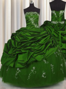 Glittering Pick Ups Embroidery Ball Gowns Quinceanera Gown Green Strapless Taffeta Sleeveless Floor Length Lace Up