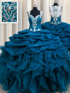 Eye-catching Zipple Up Sequins See Through Back Floor Length Ball Gowns Sleeveless Teal Sweet 16 Dress Zipper