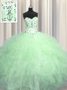 Visible Boning Apple Green Ball Gowns Sweetheart Sleeveless Tulle Floor Length Lace Up Beading and Appliques and Ruffles Sweet 16 Dress