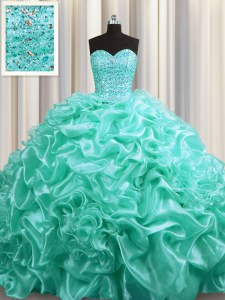 Pretty Aqua Blue Sleeveless Court Train Beading and Pick Ups With Train Quinceanera Gowns