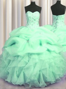 Visible Boning Sleeveless Organza Floor Length Lace Up Quinceanera Gowns in Apple Green with Beading and Ruffles