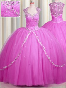 Superior See Through With Train Hot Pink Ball Gown Prom Dress Sweetheart Cap Sleeves Brush Train Zipper