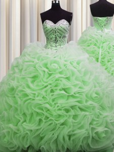 Traditional Rolling Flowers Brush Train Sweetheart Lace Up Beading and Pick Ups 15 Quinceanera Dress Sleeveless
