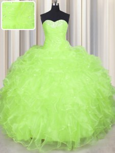 Organza Sweetheart Sleeveless Lace Up Beading and Ruffles Vestidos de Quinceanera in Yellow Green