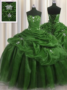 Pretty Sweetheart Sleeveless Quinceanera Gown Floor Length Beading and Appliques and Pick Ups Green Organza