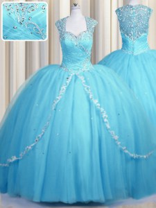 Eye-catching See Through Cap Sleeves Brush Train Zipper With Train Beading and Appliques Sweet 16 Quinceanera Dress
