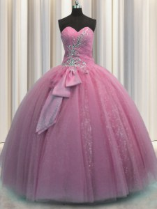 Edgy Rose Pink Tulle Lace Up Quinceanera Dresses Sleeveless Floor Length Beading and Sequins and Bowknot