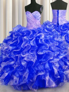 Suitable Royal Blue Lace Up Sweet 16 Quinceanera Dress Beading and Ruffles Sleeveless Floor Length