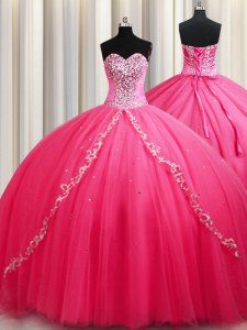 Shining Hot Pink Sleeveless Tulle Brush Train Lace Up 15th Birthday Dress for Military Ball and Sweet 16 and Quinceanera