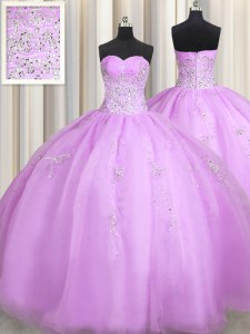 Suitable Floor Length Zipper Quince Ball Gowns Lilac for Military Ball and Sweet 16 and Quinceanera with Beading and Appliques
